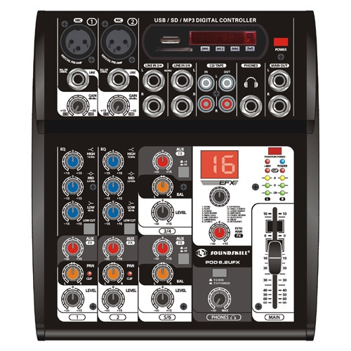 6 channel small audio mixer with USB player