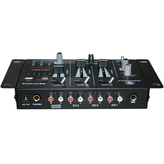 3 channel Mini DJ Mixer with USB & Display