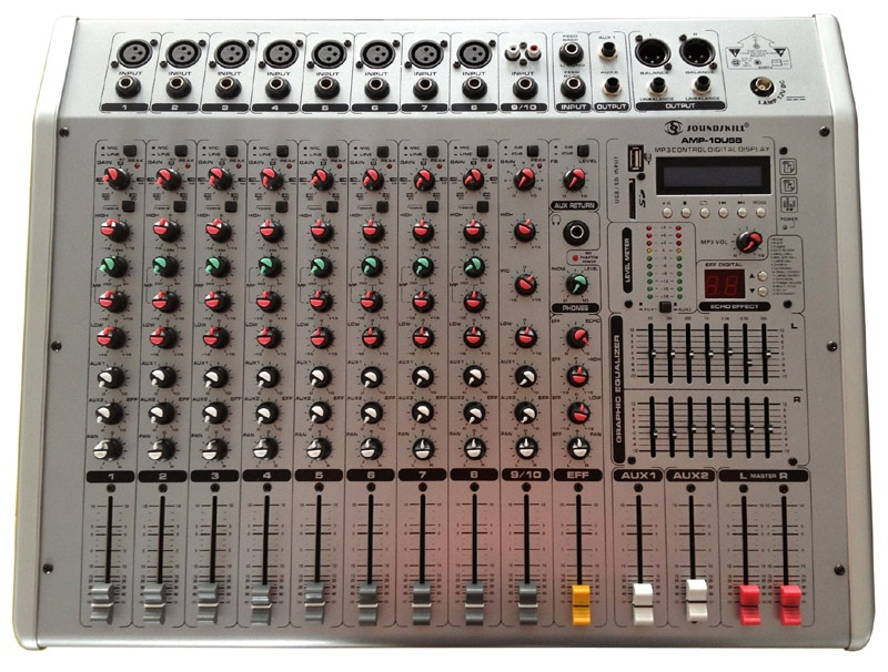 10 Channel Powered Mixer with USB & SD slot & LCD display
