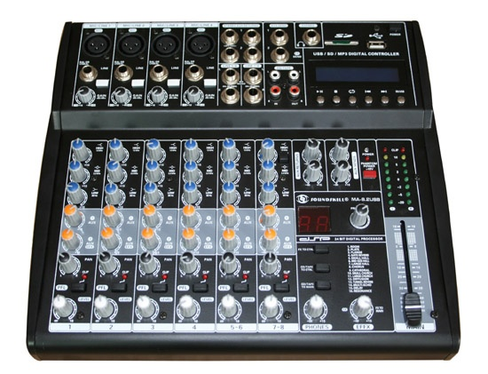 8 channel small Audio Mixer with USB & SD card slot & LCD display