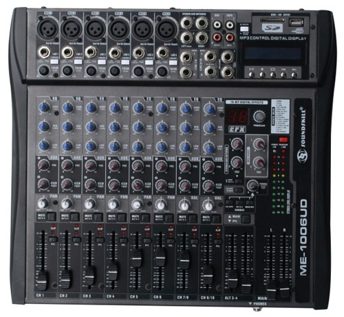 10 channel Audio Mixer with USB & SD card slot & LCD display.