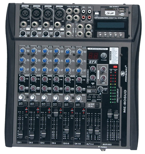 8 channel Audio Mixer with USB & SD card slot & LCD display