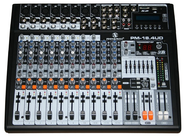 14 channel Powered Mixer with USB & SD card slot & LCD display