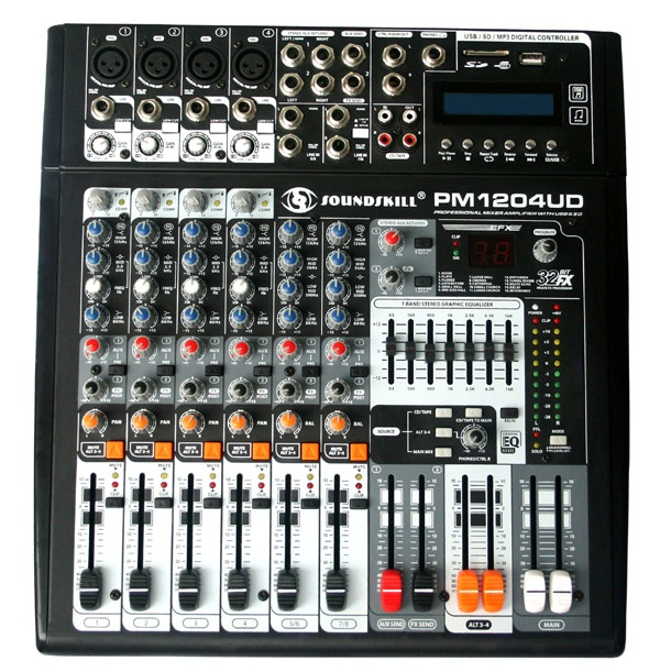 8 channel Powered Mixer with USB & SD card slot & LCD display