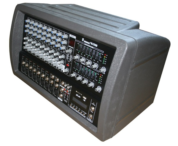 9 channel Plastic Cabinet Powered Mixer with USB & SD card slot & LCD display