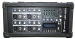 4 channel Wooden Cabient Powered Mixer with USB & SD card slot & LCD display